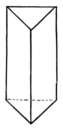 Ein dreieckiges Prisma ist ein dreiseitiges Prisma; ist ein Polyeder aus einer dreieckigen Basis und 3 Seiten, die die entsprechenden Seiten verbinden, Vintage-Linienzeichnung oder Gravurillustration. Vektorgrafik