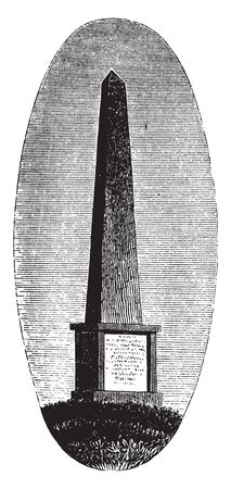 Grave of William Flank Perry ,a Confederate States Army brigadier general ,vintage line drawing or engraving illustration.