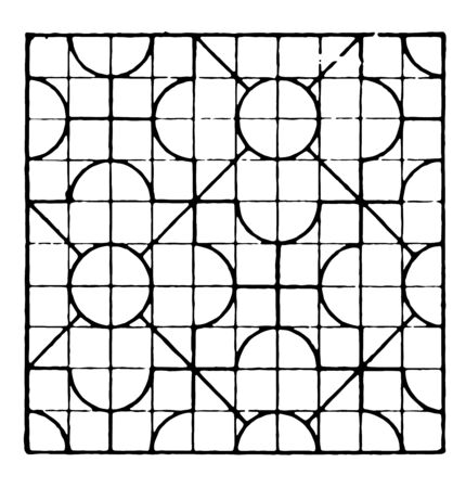 The image shows a beautiful tiling design along with a repetitive design pattern. Square in which there are 10 rows and 10 columns and each row has an arc, generates a square along with circular edges, vintage line drawing or engraving illustration.