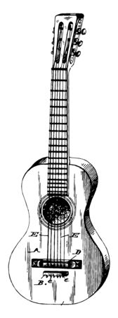 Nylon String Classical Guitar is a musical instrument of the chordophone family, vintage line drawing or engraving illustration. 向量圖像