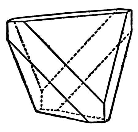 A diagram that represents a combination of tetrahedron and cube, vintage line drawing or engraving illustration.