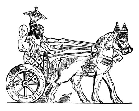 The war with courage and the aggressive people of the Assyrians is particularly shown. The horses are connected to the chariot, vintage line drawing or engraving illustration. Ilustracja