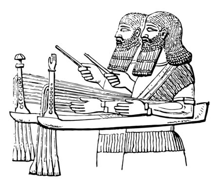 Assyrian Sacbut called sabbeka in the Hebrew Scriptures has been erroneously rendered as sacbut by the translators, vintage line drawing or engraving illustration. Ilustração