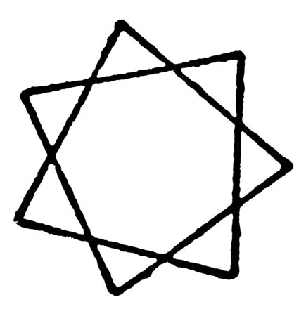 An image showing the Heptagram star. A Heptagram is a six-pointed star. A polygon of heptagon can make two stars, vintage line drawing or engraving illustration.