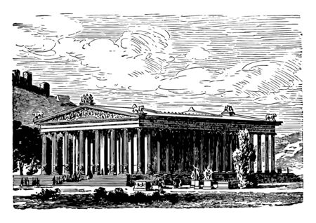 A representation of Temple of Diana at Ephesus, vintage line drawing or engraving illustration.