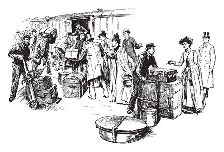 Train Travel is a means of transferring of passengers and goods on wheeled vehicles running on rails, vintage line drawing or engraving illustration. Illustration