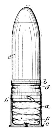 Bullet Cartridge usually metal casing containing the primer and charge of ammunition for firearms, vintage line drawing or engraving illustration.