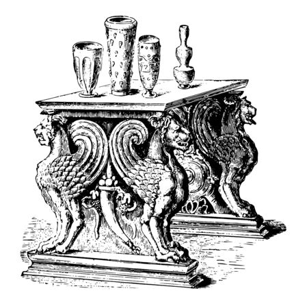 This is the image of the marble table. There are some pots on the table. An old marble table that was found in Pimpeii, vintage line drawing or engraving illustration.