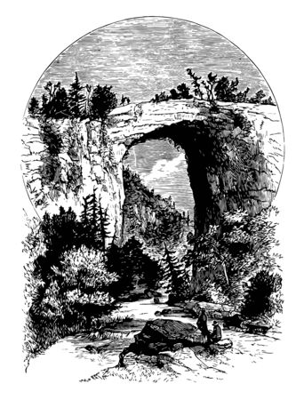 The Natural Bridge in Virginia is the geological formation vintage line drawing. 일러스트