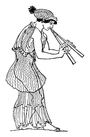 Auletris Performer on the double flute or diaulos, vintage line drawing or engraving illustration. 写真素材 - 133360959
