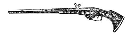French gun of the eighteenth century used at the time of the French and Indian War, vintage line drawing or engraving illustration.