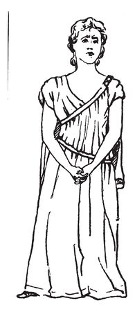 A woman standing in steady position, a gesture of anguish, vintage line drawing or engraving illustration