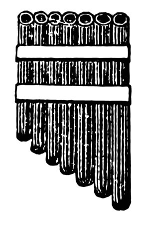 This image represents Pipe with seven reeds, vintage line drawing or engraving illustration.