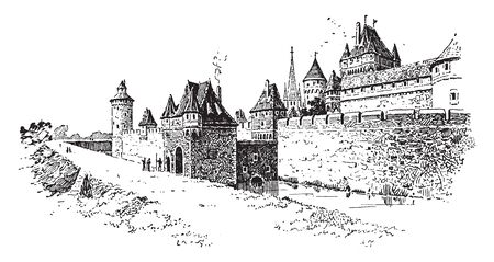 Walled Town during the Middle Ages, vintage line drawing or engraving illustration. 向量圖像