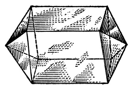 The projection of the prism. It is a four-sided prism. Four faces are square and both sides are triangular, vintage line drawing or engraving illustration. Stock Illustratie