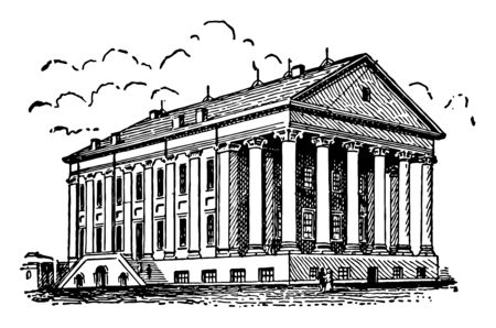 Richmond State Capitol is the capital building for the state of Virginia is the seat of Governor of commonwealth, Virginia vintage line drawing. Çizim