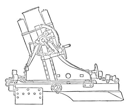 Rifled Medium Trench Mortar was designed with a rifled barrel to spin stabilize the shell, vintage line drawing or engraving illustration.