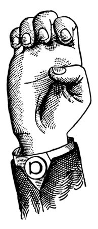 Non Vocal Shut Lip Consonant positions have the voice phalanx of the thumb bent at right angles to the breath phalanx, vintage line drawing or engraving illustration.