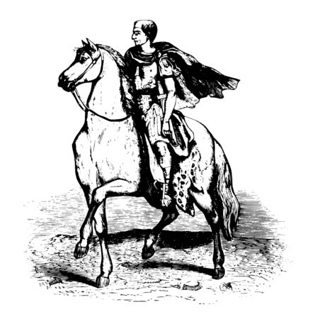 An image showing an emperor riding a horse, vintage line drawing or engraving illustration. Illusztráció