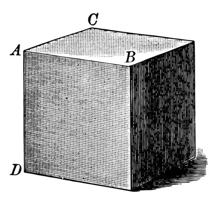 The image shows the cube filled with six square shaded sides that is a pure solid cube. It is also called regular hexahedron. Each shaded side of a cube has the same length, vintage line drawing or engraving illustration.
