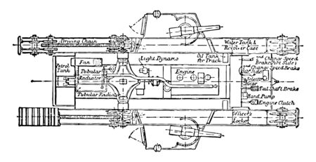 Mark IV Tank Top View Plan showing the belt drive and other mechanical parts to move the tank, vintage line drawing or engraving illustration.