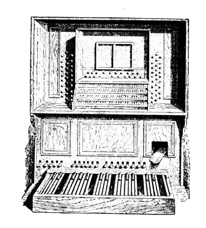 Organ is a keyboard that operates a mechanism controlling the flow of air to the pipes, vintage line drawing or engraving illustration.