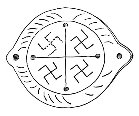 The Swastika is a symbol on an ancient vase, vintage line drawing or engraving illustration.
