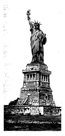 Statue of Liberty is a figure of a women representing the Libertas who is holding Torch in her right hand. Statue is an icon of freedom vintage line drawing.