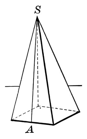 This image has a regular pyramid with a square for the base, vintage line drawing or engraving illustration.