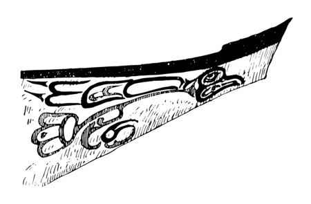 Alaskan war canoe is watercraft of canoe type designed which is outfited for war vintage line drawing.