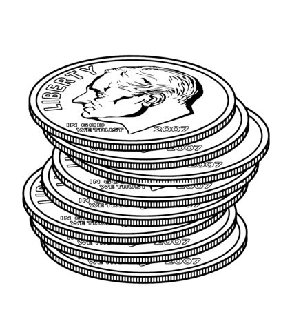 The Picture shows the 8 Dimes coin. Back side of the coin has picture like two flowering branch and at the center candle like structure are present, vintage line drawing or engraving illustration.
