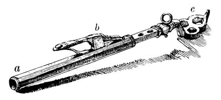 Wheel Lock use for containing a small fixed amount of powder and introducing it into the pan of a gun, vintage line drawing or engraving illustration.