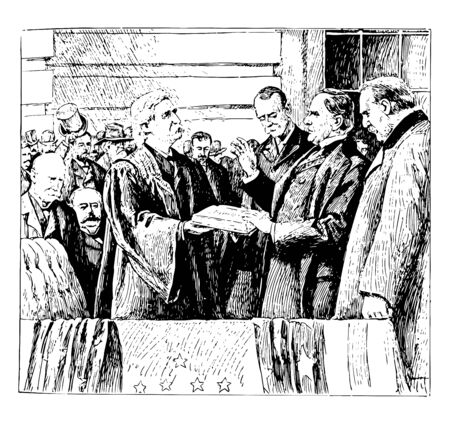 First inaguration of William McKinley in 1897 as 25th president vintage line drawing. Ilustrace
