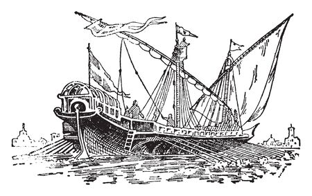 Venetian Galley was the navy of the Venetian Republic and used both as an escort and a transport, vintage line drawing or engraving illustration.
