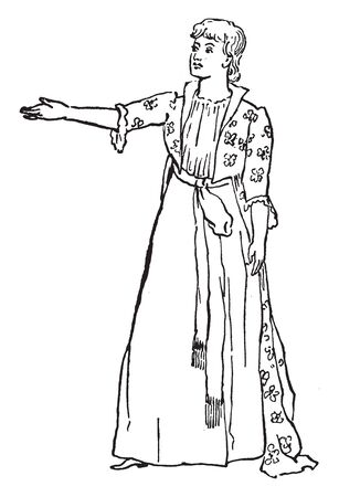 A woman raising right hand, a gesture of announcing, vintage line drawing or engraving illustration