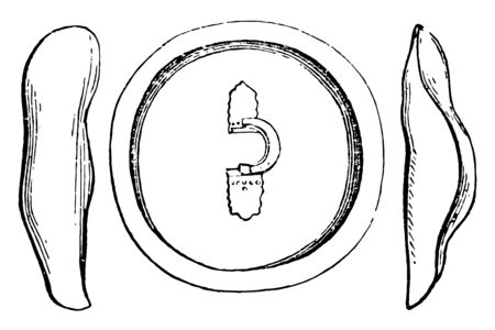 The interior of the Greaves and shield used in Ancient Greece, vintage line drawing or engraving illustration.