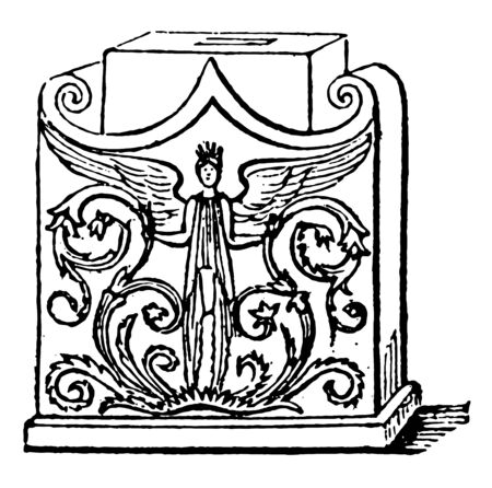 Ara is an altar in Ancient Greece, vintage line drawing or engraving illustration.