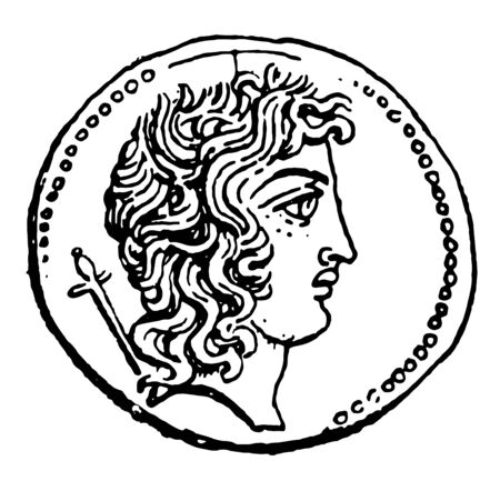Currency showing the right side face of an emperor, vintage line drawing or engraving illustration.