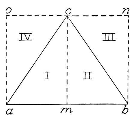 An image showing an area of a triangle. The triangle ABC divided into two equal parts, vintage line drawing or engraving illustration. Иллюстрация