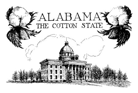 Alabama state capitol is the historic place and museum of state history and politics having five political capitals vintage line drawing.
