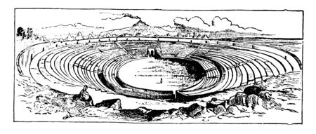 An image showing the amphitheater in Pompeii, vintage line drawing or engraving illustration.