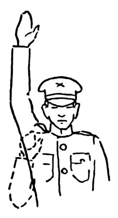 Halt rapidly thrust the hand upward the full extent of the arm several times, vintage line drawing or engraving illustration.