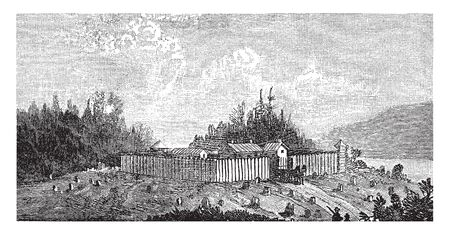 A stockade is an enclosure of palisades and tall walls made of logs to protect,vintage line drawing or engraving illustration. Ilustração