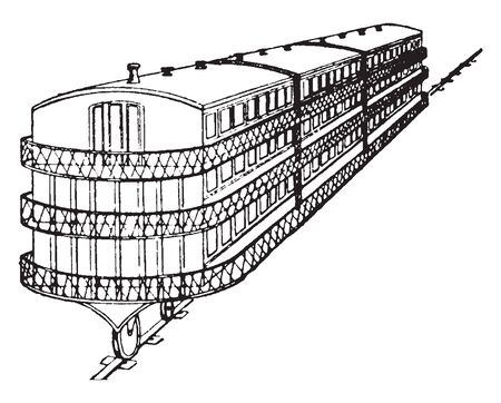 Monorail is a railway in which the track that consists of a single rail, vintage line drawing or engraving illustration.