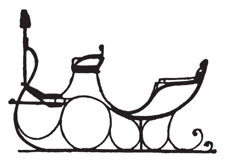Russian Vis a Vis Sleigh is late styles of fashionable carriages and sleighs, vintage line drawing or engraving illustration.