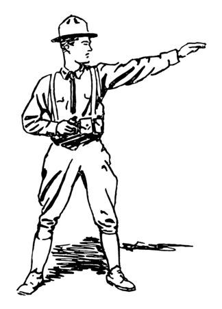 This image represents Soldier standing with arm outstretched, vintage line drawing or engraving illustration. Reklamní fotografie - 133361352