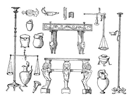 This image shows the furniture of the Pompeii house. There are different pots with their size and shape, vintage line drawing or engraving illustration.