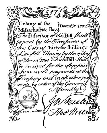 This is the Thirty-Six shilling bill of 1775. Image of left-facing sailing ship on the upper part of the bill, vintage line drawing or engraving illustration.