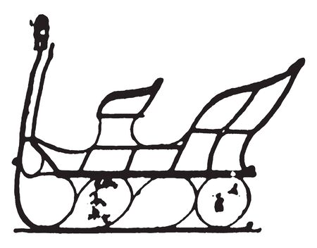 Copenhagen Sleigh which is a late styles of fashionable carriages and sleighs, vintage line drawing or engraving illustration.