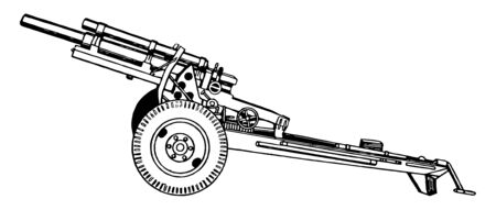 105 mm Howitzer M2A1 was the standard light field howitzer for the United States in World War II, vintage line drawing or engraving illustration.